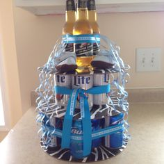 Beer cake for Huggies and Chuggies themed diaper shower. It's a boy!