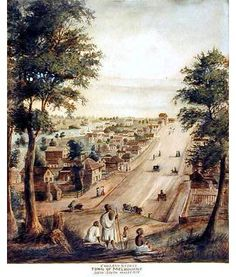 """""""Paris End"""", anyone? """"Collins Street -Town of Port Phillip NSW"""", artist: William Knight, Shows early settlements on Collins Street from Spring Street with arcadian 'natives' . Melbourne Victoria, Victoria Australia, Melbourne Australia, Australia Travel, Brisbane, Van Diemen's Land, Australian Painting, Melbourne Street, Largest Countries"""