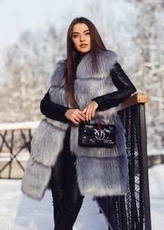 Look at the shine of that faux fur fabric!  Only High Quality Soon to buy on Ebay Fake Fur, Faux Fur Vests, Fur Coat, Grey, Fabric, Jackets, Stuff To Buy, Collection, Fashion