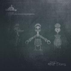 Walt Disney #work #blueprint #DonalDuck #retro #art