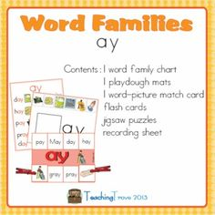 Word Families - ay - Pinned by @PediaStaff – Please Visit ht.ly/63sNtfor all our pediatric therapy pins