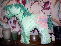 Items similar to Pony stuffed animal made from Vintage Chenille bedspread. on Etsy Chenille Crafts, Chenille Bedspread, Bedspreads, Fabric Animals, Happy Animals, Wet Felting, Good Books, Pony, Recycling