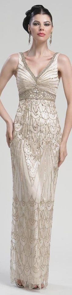 sue wong dress so pretty, i love this combo of sparkly silver over pinkish (kind of, i really wanted to pin this dress to pink wedding) nude dress