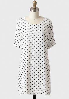 Emily Polka Dot Shift Dress In White   Modern Vintage Dresses   Modern Vintage Clothing