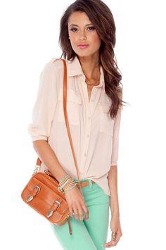 All Work Button Down Blouse in Light Peach :: tobi #tobi #blouse #ellison $33.00
