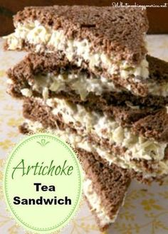 Artichoke Tea Sandwiches by Saveur. A staple of Southern garden clubs and church luncheons, the tea sandwich takes on a more satisfying dimension with the addition of artichokes. Sandwich Bar, Sandwich Recipes, Sandwich Spread, Sandwich Ideas, Tea Party Sandwiches, Finger Sandwiches, Vegan Sandwiches, Vegan Teas, Vegan Foods
