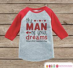 Boy's First Valentines Day Outfit - Red Raglan Shirt - Boy 1st Valentine Onepiece - Valentine Top for Baby Boys - Valentines Raglan Tee