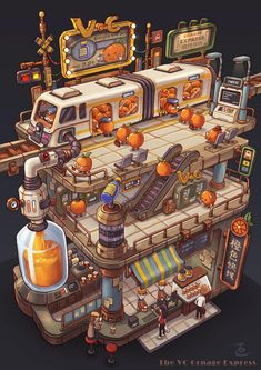 The VC Orange Express - by Bangzheng Du, digital, 2018 : Art Art Isométrique, Art Cg, Doodle Art, Pixel Art, Arte Robot, Isometric Art, Environment Concept, Environmental Art, Grafik Design