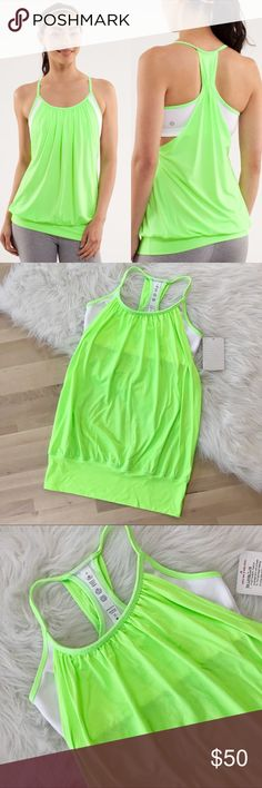 """Lululemon NWT Green No Limits Workout Tank Lululemon No Limits Tank in highlighter green and white. Loose fit. Built in bra.  Size 6. Bust: 31"""" Length: 26""""   Brand new! lululemon athletica Tops Tank Tops"""
