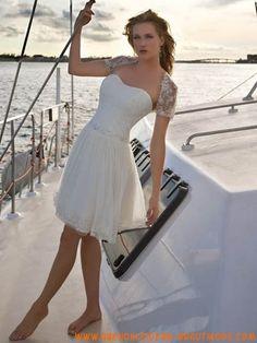 Chiffon schulterfreier mini Rock Hot Sell Strandbrautkleid Kurze Brautkleider