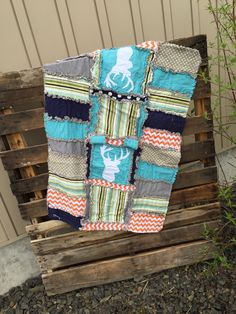 CAR SEAT CANOPY and Rag Quilt With Deer Silhouette in Turquoise, Green, and Orange