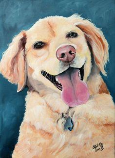 Custom dog portrait hand painted pet portrait on a by PerlillaPets