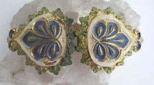 Antique Art Nouveau Enamel Repousse Belt Buckle Gold Gilt Acanthus Leaf Scroll