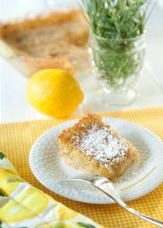 Lemon Pudding Squares on http://janiceameesglutenfree.com