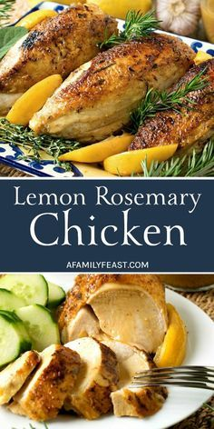 Lemon Rosemary Chicken is a classic dish that everyone should know how to make! Fresh lemon juice and fresh herbs add fantastic flavor to this super juicy oven roasted chicken. #chicken #recipe #chickenrecipes #chickendinner