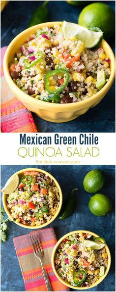 Mexican Green Chile Quinoa Salad. Colorful, crunchy, spicy and full of great…