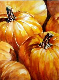 """Pumpkin Patch"" - by JoAnna Abrahian. Watercolor Fruit, Watercolour Painting, Watercolor Flowers, Painting & Drawing, Watercolours, Watercolor Techniques, Art Techniques, Theme Nature, Pumpkin Art"