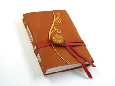 Fantasy  Orange Leather Journal / Diary / Notebook by Baghy, $48.00