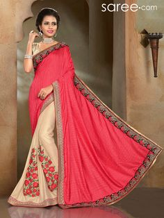 PEACH AND BEIGE SILK SAREE WITH EMBROIDERY WORK
