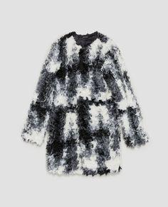 NWT ZARA Black/White TWO-TONE TEXTURED Faux Fur Coat JACKET Size S Ref.9320/228 #ZARA #BasicCoat #Casual