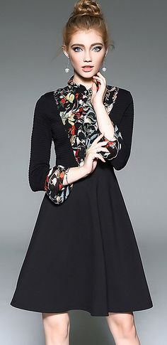 Fashion Stand Collar Long Sleeve Floral Print Patchwork Skater Dress