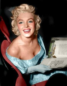"A Lovely colorization by whom I do not know but gorgeous! Marilyn at the ""East of Eden"" premiere in NYC 1955"