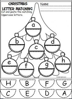Free Christmas ornament alphabet activity. Students cut and paste to match uppercase and lowercase letters. Pre-K, Kindergarten.