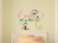 Kids+Name+Decal++Monkeys+Vine+and+Leaves++Personalized+by+DecalLab,+$58.00