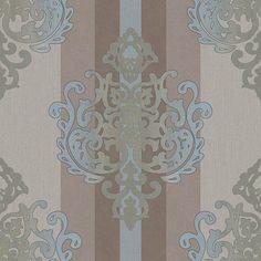 Tapete rasch bestseller barocktapete flock 545630 barock for Holz tapete weiay