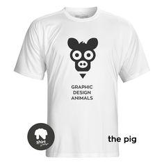 Graphic Design Animals T-Shirt Series, The Pig by George Nikolaidis Graphic Design, Mens Tops, T Shirt, Animals, Supreme T Shirt, Tee Shirt, Animales, Animaux, Animal