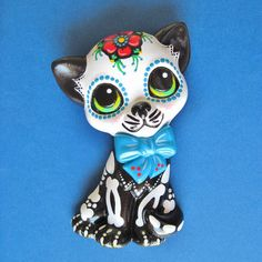 Day of the Dead CAT SKELETON Kitty Wall Hanging  by illustratedink