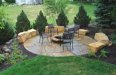 Natural Fire Pit Area With Limestone Walls And Crushed 400 x 300