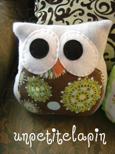 My Little Bitty Owl Buddy  Owl Pillow Softie        blue Baby boy Nursery Owl