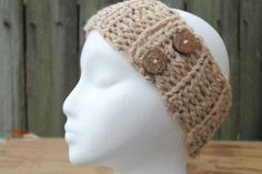 Tan and Flecked Chunky Ribbed Crochet Headband by HMRCreatives, $14.00 #want #cute #love #gift #outfit #style #winter #warm #etsy
