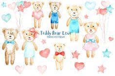 Watercolor Clipart Teddy Bear Love by Corner Croft on Creative Market?u=chengjing