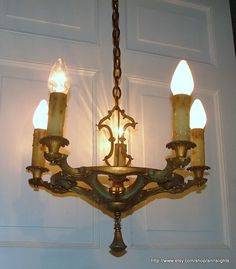 Antique Brass Lighting Chandelier Vintage 5 Light Ceiling Fixture Chain Center Hanging