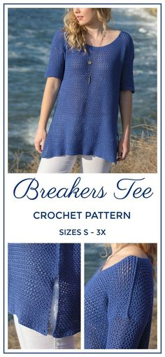 Crochet your go-to tee for spring! ANNIE'S SIGNATURE DESIGNS: Breakers Tee Crochet Pattern: Crochet Tee Shirt PDF Pattern, Swim Coverup Crochet Pattern We are want to say thanks if you like to share this post to another people via. Crochet Jumper, Crochet Yarn, Free Crochet, Crochet Tops, Crochet Sweaters, Free Knitting, Crochet Designs, Crochet Patterns, Crochet Ideas