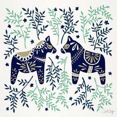 'Swedish Dala Horse – Navy & Mint Palette' Poster by Cat Coquillette - 花鸟插图 - Weihnachten Swedish Decor, Swedish Design, Scandinavian Folk Art, Scandinavian Christmas, Scandinavian Embroidery, Dala Horse, Palette Art, Palette Couch, Horse Pattern