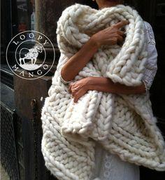 Loopy Mango Nantucket Throw DIY Beginner Knitting Kit + Free Shipping!