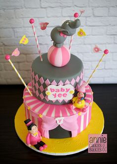 Pink & Gray Stripes and Harlequin Girlie Circus Cake with Elephant Topper