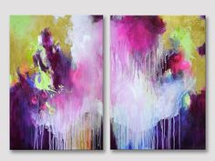 2 parts XL original abstract painting on stretched canvases, modern fine art, acrylic painting, bold colors, gold and fuchsia, canvas pink
