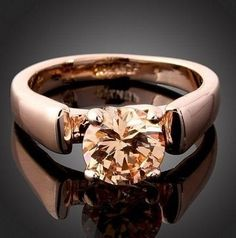 Free Stuff: Stunning 18K Rose Gold Plated Champagne Citrine Swarovski Engagement style Ring size 6 - Listia.com Auctions for Free Stuff