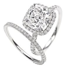 1.30 carat Cushion & Round Brilliant Cut Diamond Halo Anniversary Engagement Bridal Set in 14k White Gold $2,699.00 (save $4,048.50)