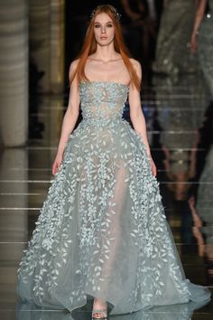 Zuhair Murad | Spring 2016 Couture | 41 Blue strapless maxi dress with floral embellishments