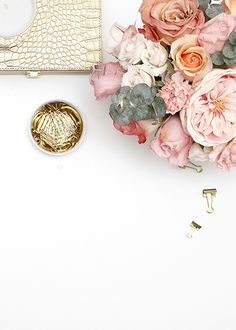 Product styling and photography by Shay Cochrane. www.shaycochrane.com  Gold desk, gold desktop accessories, gold office supplies, stock photography, photography for small business owners, desktop vignette, gold scissors, acrylic tape dispenser, Russell + hazel, gold paperclips, gold confetti, office style,