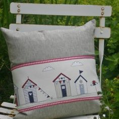 Beach huts cushion £15 by Magatha Bagatha #seaside #beachhuts #cushion www.magathabagatha.co.uk