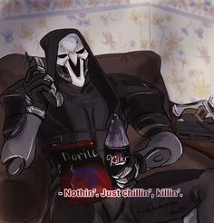 "pinchitosmcpupas: "" ""What you doin', son?"" This joke is as old as the sun but I don't care "" Overwatch Video Game, Overwatch Memes, Overwatch Fan Art, Overwatch Reaper, My Fantasy World, Goth Art, Shall We Date, Cartoon Games, Albedo"