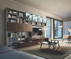 Moderne Design Wohnwand aus in Eiche Braun mit TV Lowboard, Beleuchtung, Paneel und Glastüren