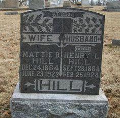 Western Kentucky Genealogy Blog: Tombstone Tuesday - Mattie B. and Henry L. Hill #genealogy