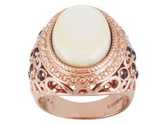 Timna Jewelry Collection(Tm) Oval White Mother Of Pearl And .51ctw Rou